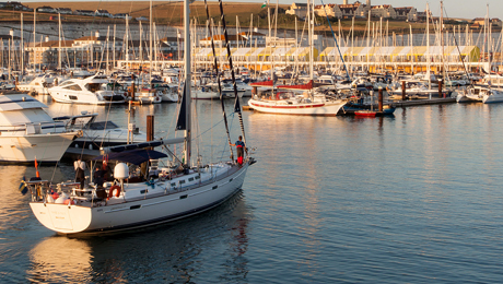 Luxury yacht entering harbour - Visitor berths at Premier Marinas