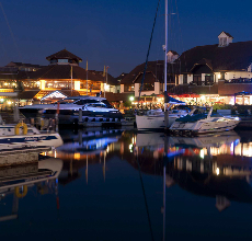 Port Solent Marina at night