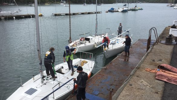 Noss on Dart Marina Boatyard Team Lifts J24