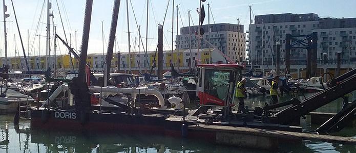 Doris the dredger in Brighton Marina