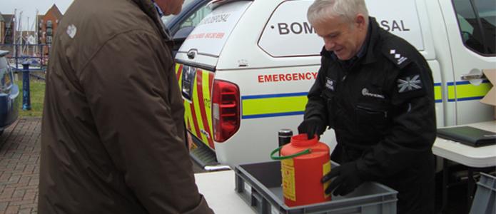 Flares disposal day in Brighton Marina