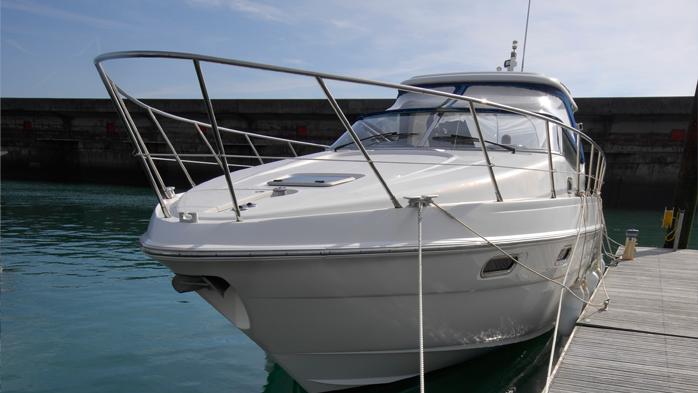 Luxury Motor yacht on a Prestige berth at Brighton Marina