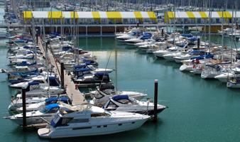 Summer berths at Brighton Marina - view of Yachts berthed at Brighton Marina