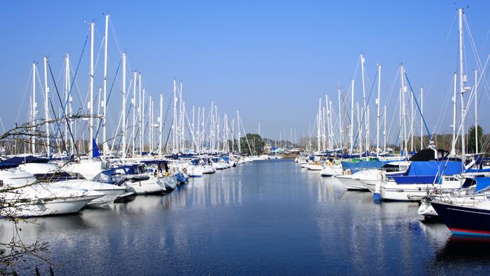 View of yachts mooring at Chichester Marina