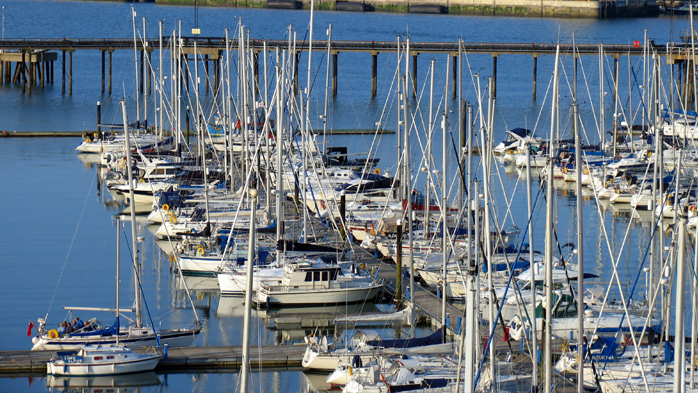 View of boats berthing at Gosport Marina on Portsmouth Harbour Annual berthing, visitor berths and first class Facilities