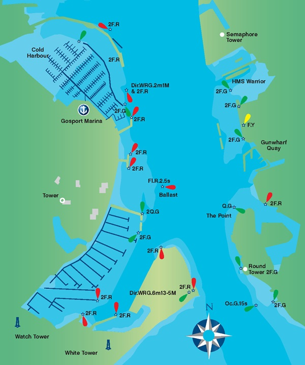 The approach to Gosport marina