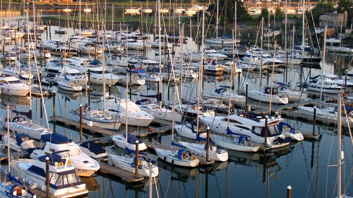 View of yacht berths at Swanwick Marina on The Hamble