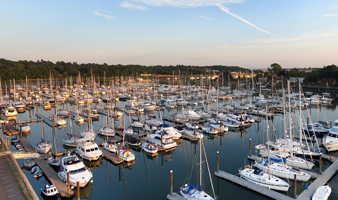 Winter berthing on The Hamble view of boats berthed at Swanwick Marina in Winter