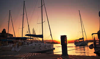 View of yachts berthed with Premier Marinas at Sunset