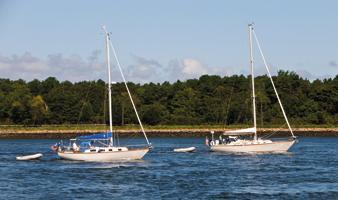 Yachts under sail at Sunset