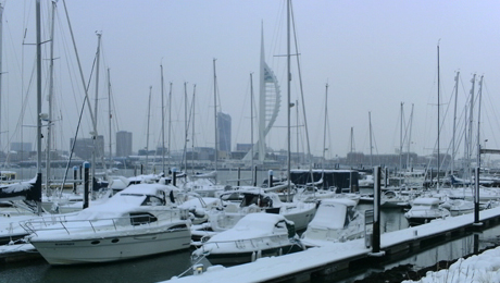 Winter berths at Premier Marinas - snow at Gosport Marina