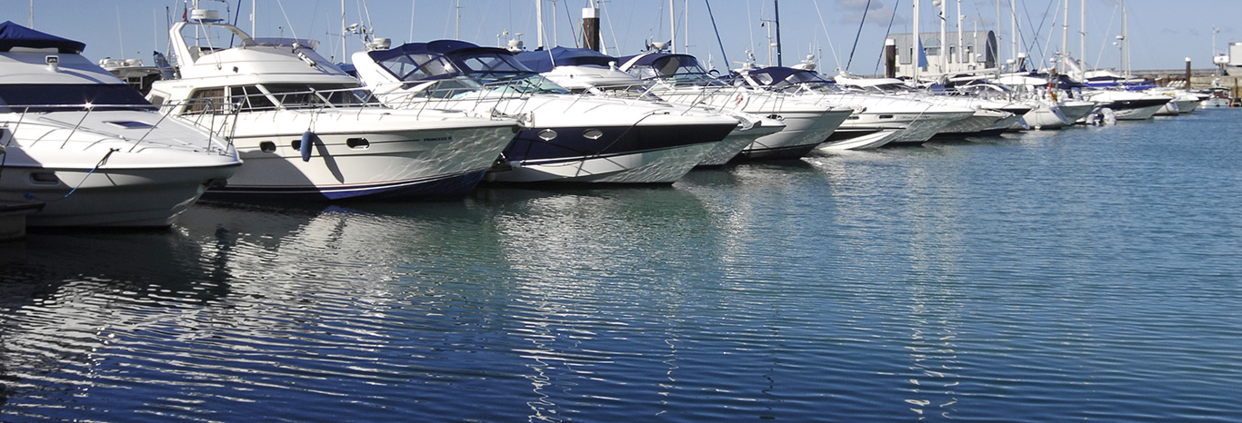Panoramic view of boats berthed at Premier's Gosport Marina near the entrance to Portsmouth Harbour