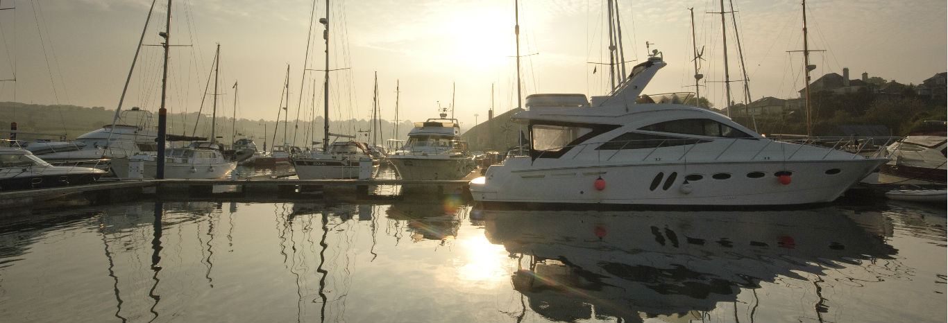Boats moored at Falmouth Marina