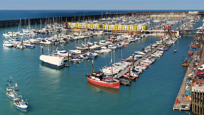 View of yacht berths at Brighton Marina