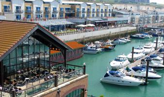 View of visitor berths at Brighton Marina