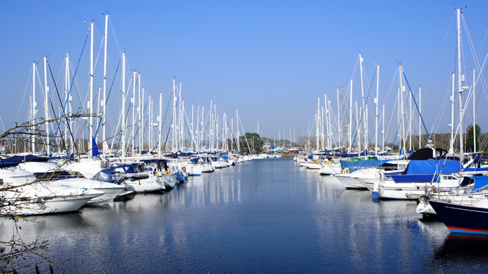 View of yachts mooring at Chichester Marina