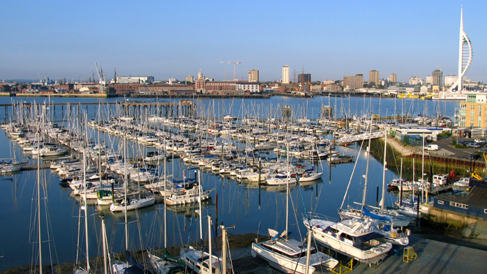 View of yacht berths at Gosport Marina on Portsmouth Harbour