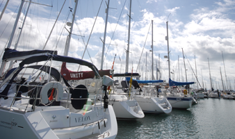 Summer berthing in Portsmouth Harbour view of Yachts berthed at Gosport Marina