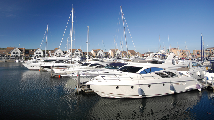 Annual Berthing customer boats moored at Port Solent marina