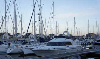 Winter berthing customer boats on the jetty at Port Solent Marina Portsmouth Harbour