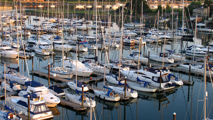 View of yacht berths at Swanwick Marina on The Hamble