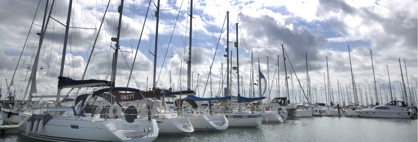 Panoramic view of Yachts berthing at Premier's Gosport Marina near the entrance to Portsmouth Harbour
